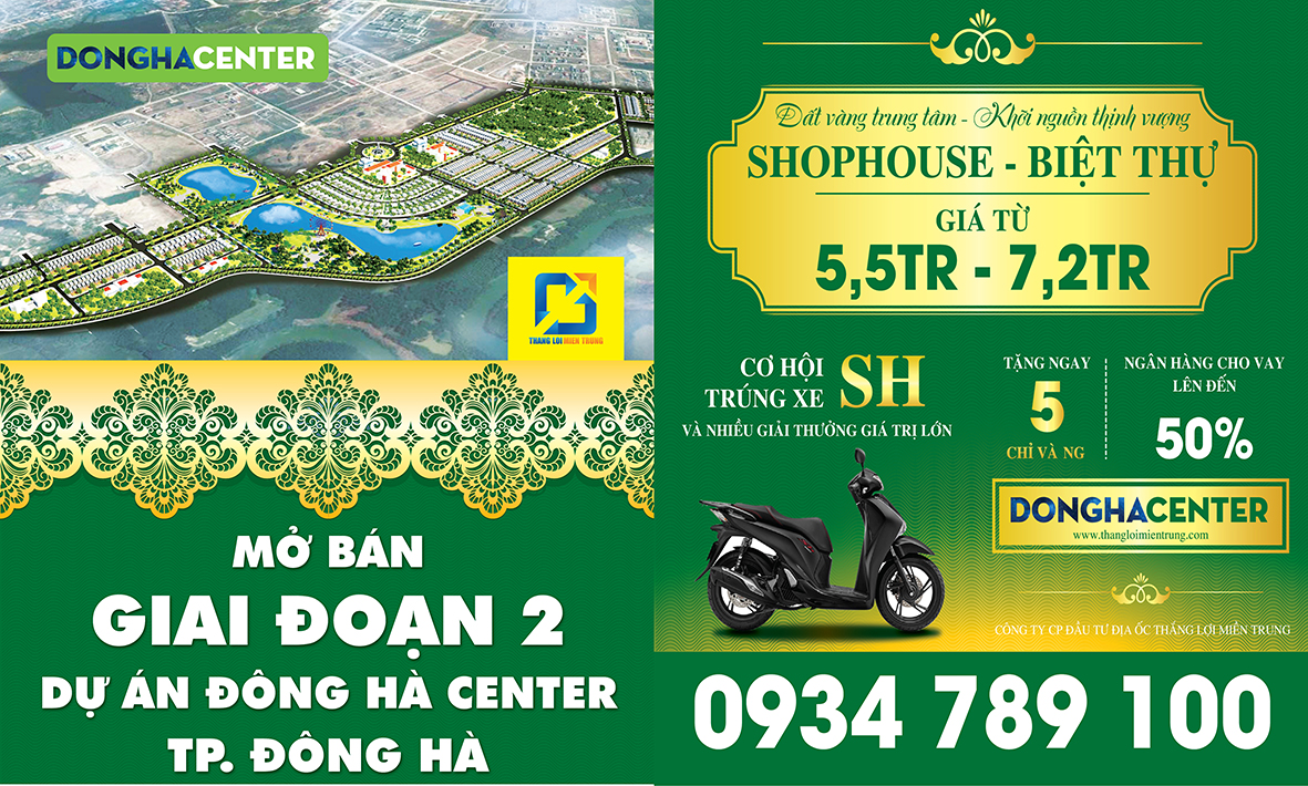 Banner mở bán dự án Đông Hà Center Quảng trị